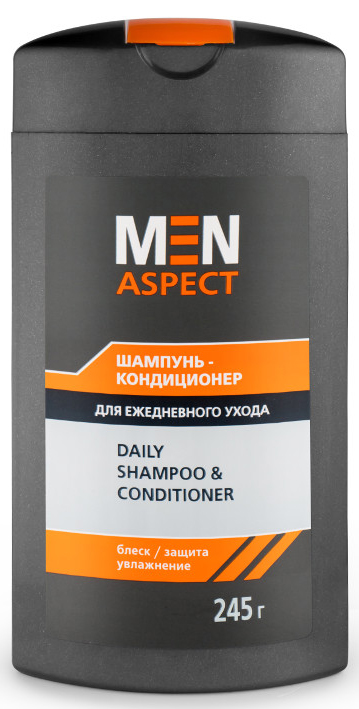 Modum Шампунь-кондиционер для ежедневного ухода Men Aspect, 245 гC116-406Шампунь тщательно и бережно очищает волосы: мягкие компоненты позволяют использовать его ежедневно без вреда для волос. D-пантенол устраняет сухость кожи головы. Экстракт протеинов шелка значительно улучшает внешний вид волос, образуя на стержне волоса тончайшую защитную пленку, укрепляет и питает их. Благодаря кондиционирующей добавке Polyquaternium-7 шампунь придает волосам здоровый блеск и эластичность без применения дополнительных средств.