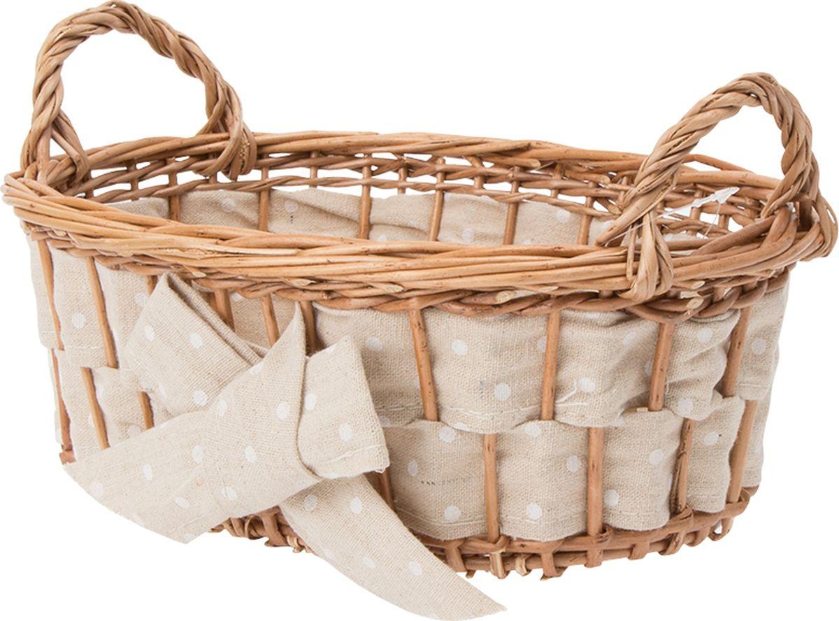 Плетеная декоративная корзина с ручками, удобна для использования в гардеробных, шкафах и комодах. Также корзина отлично впишется в хранение на кухне, подойдет для фруктов и хлебобулочных изделий. Поверхность корзины обработана водоотталкивающим покрытием, пройдена санитарная антибактериальная обработка. Материал изготовления корзины: лоза ивы, ткань.
