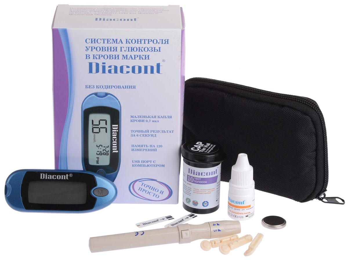 Diacont Система контроля уровня глюкозы в крови3588Система контроля уровня глюкозы в крови Diacont (компакт). Высокоточный глюкометр с большим экраном, функцией предупреждения о гипогликемии и гипергликемии, портом передачи данных на ПК и системой измерения без кодирования тест-полосок. Измерение происходит всего за 6 секунд, при этом для анализа требуется только 0,7 мкл крови. Глюкометр Diacont (компакт) хранит в памяти 250 измерений, рассчитывает среднее значение за 7, 14, 21 и 28 дней, включается и выключается автоматически. Поставляется в комплекте с тест-полосками, ланцетами, устройством для получения капли крови, автоматическим скарификатором с приспособлением для взятия крови из альтернативных мест, контрольным раствором и футляром для хранения.Особенности: Глюкометр (прибор для измерения уровня глюкозы в крови) Большой ЖК-дисплей Минимальная проба крови (0,7 мкл) Метод измерения - электрохимический с использованием биосенсоров Калибровка - по плазме крови Технология «Без кодирования» Высокая точность (сопоставима с лабораторным анализатором) Предупреждение о гипогликемии (9,0mmol/L) Возможность использовать кровь из ладони, предплечья, голени, бедра Автоматическое включение и выключение Память – 250 результатов с указанием даты и времени Расчет средних значений за 7, 14, 21 и 28 дней с указанием количества результатов, участвующих в расчет Порт передачи данных на ПК Питание от батарейки CR2032 (1000 измерений на одной батарейке) Часы и календарь Комплектация: глюкометр, 10-тест-полосок Diacont, 10 стерильных ланцетов, устройство для получения капли крови, автоматический скарификатор с приспособлением для взятия крови из альтернативных мест (ладонь, голень, предплечье, бедро), контрольный раствор, футляр, батарейка CR2032. Статистика : средние результаты за 7, 14 , 21, 28 днейКоличество крови для анализа, мкл: 0,7Диапазон измерения, ммоль/л: 1,1-33,3Время измерения (сек): 6Вес, гр: 37Габариты: 90,5мм*35мм*20,9мм Гарантия: пожизненная.