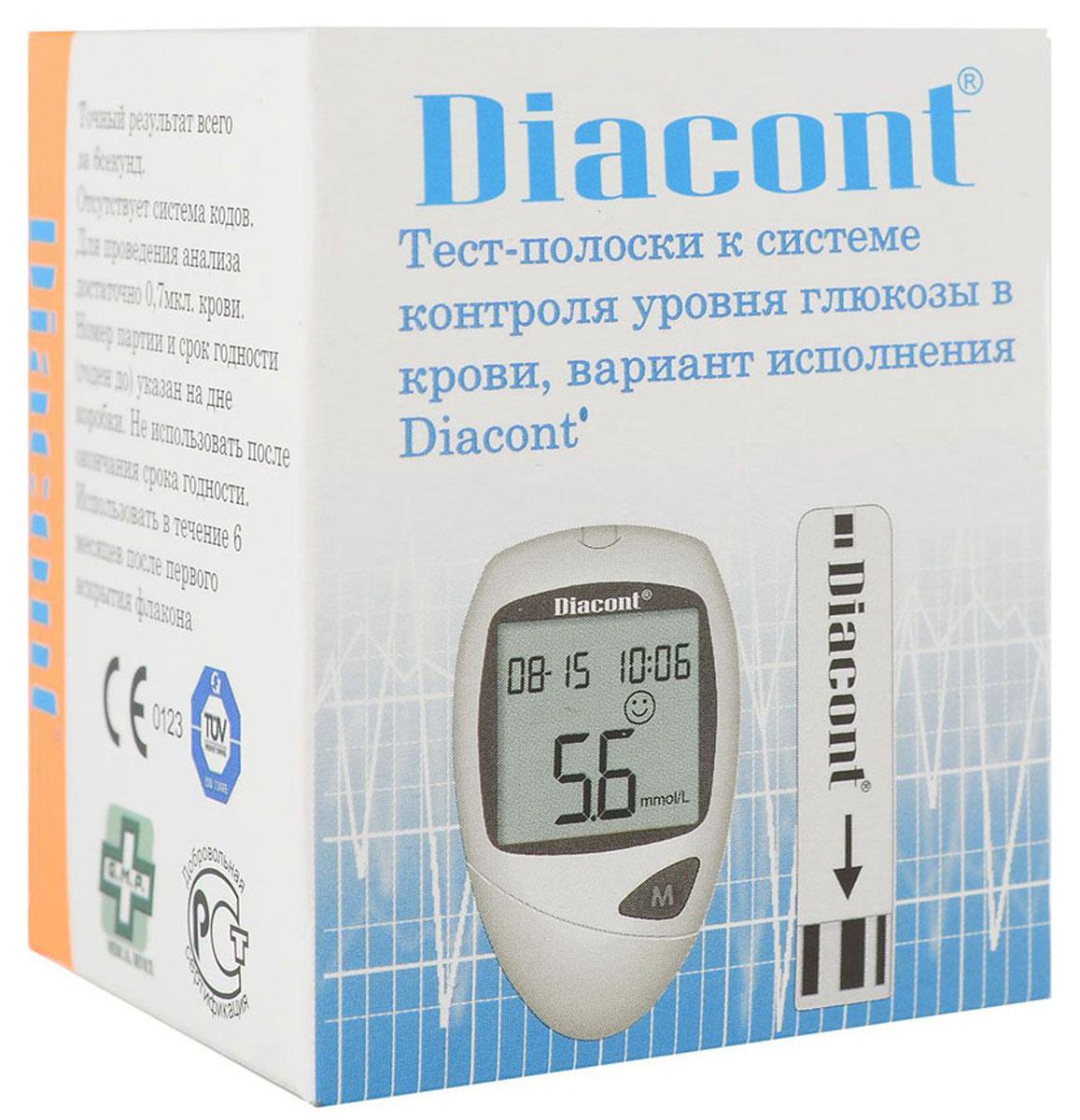 Diacont Тест-полоски к системе контроля уровня глюкозы в крови, 25 шт. 18121812Тест-полоски к системе контроля уровня глюкозы в крови Diacont, 25 штОдноразовые тест-полоски к глюкометрам: Diacont и Diacont (компакт). При изготовлении тест-полосок используется методика послойного нанесения ферментативных слоев, что обеспечивает минимальную погрешность измерения. Тест-полоски не требуют кодирования и сами втягивают каплю крови. Соответствуют системе качества ISO 15197 и GMP. Количество тест-полосок в упаковке - 25 штук.Особенности: Одноразовые тест-полоски для контроля глюкозы в крови Предназначены для использования с глюкометрами: Diacont и Diacont (компакт) Послойное нанесение ферментативных слоев тест-полоски для минимальной погрешности измерения Не требуют кодирования Тест-полоска сама втягивает кровь Контрольное поле на тест-полоске для определения достаточного количества крови на полоске Соответствуют системе качества ISO 15197 и GMP Количество в упаковке - 25 штук, Гарантия-2 года.