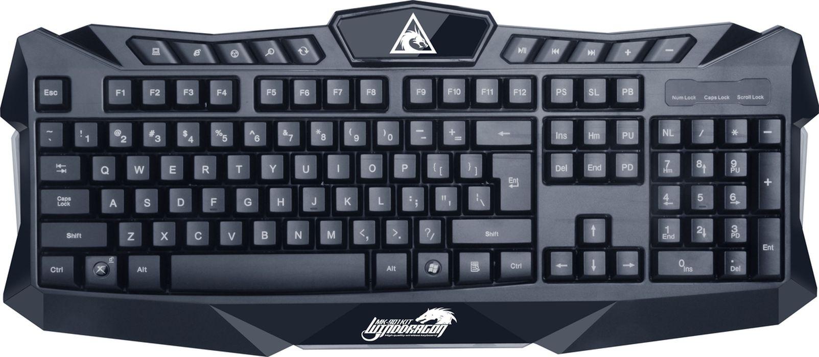 Xtrike Me MK-901KIT, Black игровая мышь + клавиатураMK-901KITБеспроводной игровой комплект: мультимедиа-клавиатура с 3-цветной подсветкой и беспроводная 6-кнопочная игровая мышь с 7-цветной циклической дышащей подсветкой