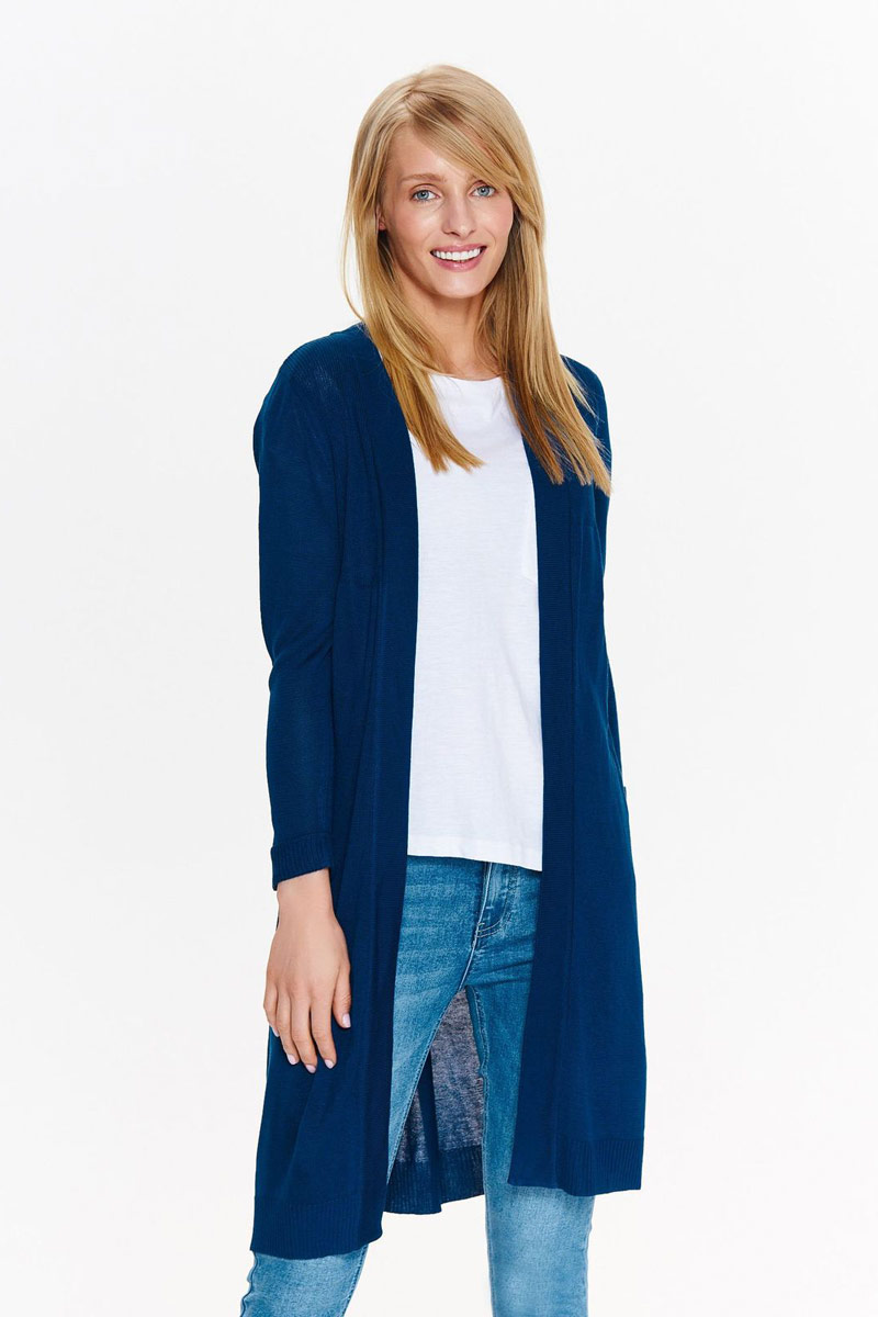 Кардиган женский Top Secret, цвет: темно-синий. SSW2290GR. Размер 42 (50) кардиган женский milana style цвет темно бежевый 34359 размер 60