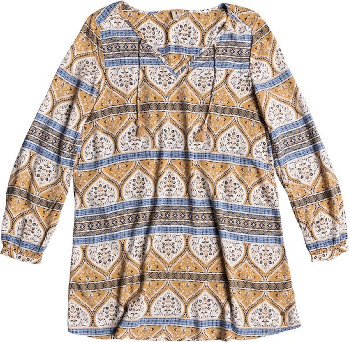 Платье Roxy, цвет: коричневый, белый, синий. ERJWD03201-WBT2. Размер XL (48) платье детское roxy full morning sky