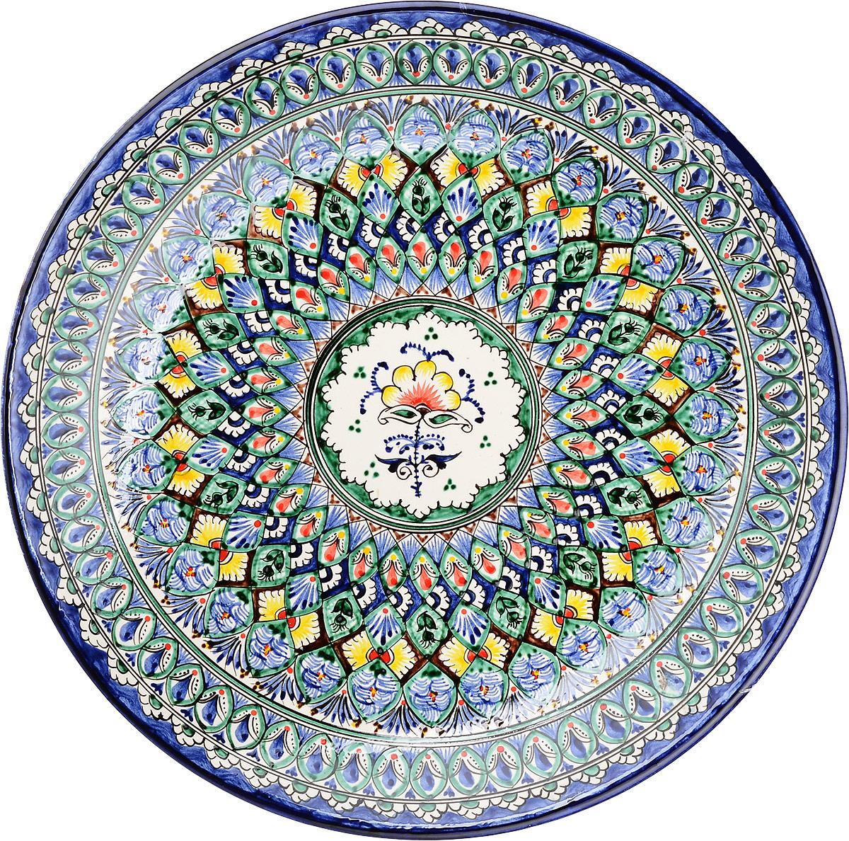 """Ляган """"Риштанская керамика"""", цвет: синий, белый, диаметр 41 см. 1924223"""