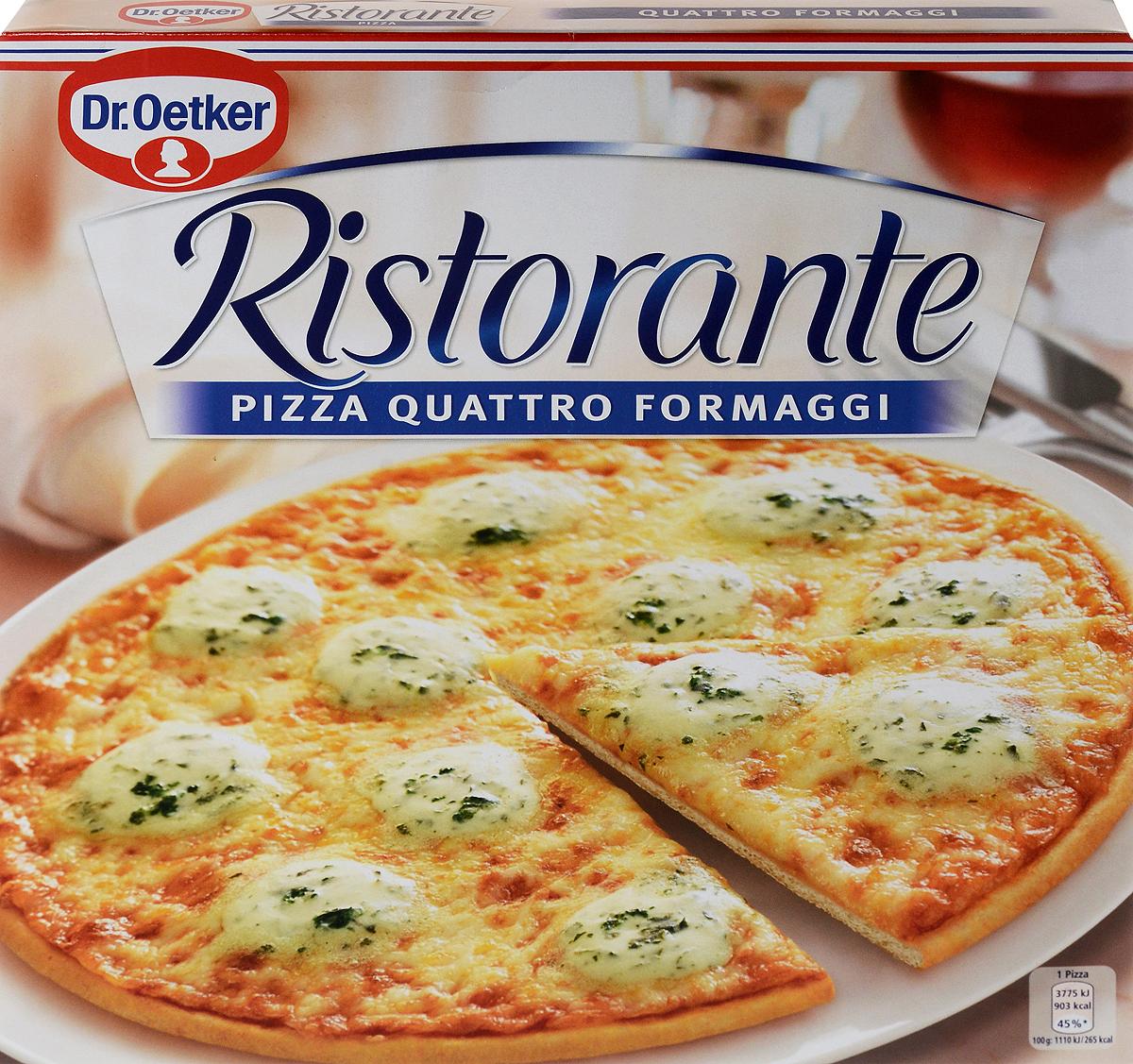 Dr.Oetker Пицца Ristorante 4 Сыра, 340 г22160Пицца Ristorante - вкусно, как в настоящей итальянской пиццерии! Пицца Ristorante - изысканная итальянская пицца на тонком хрустящем тесте с богатой начинкой.Обильно покрыта сырами моцарелла, горгонзола, эдамским и эмментальскимна хрустящем тонком корже. Способ приготовления: предварительно разогреть духовку, снять пленку,выпекать замороженную пиццу 12-14 минут.