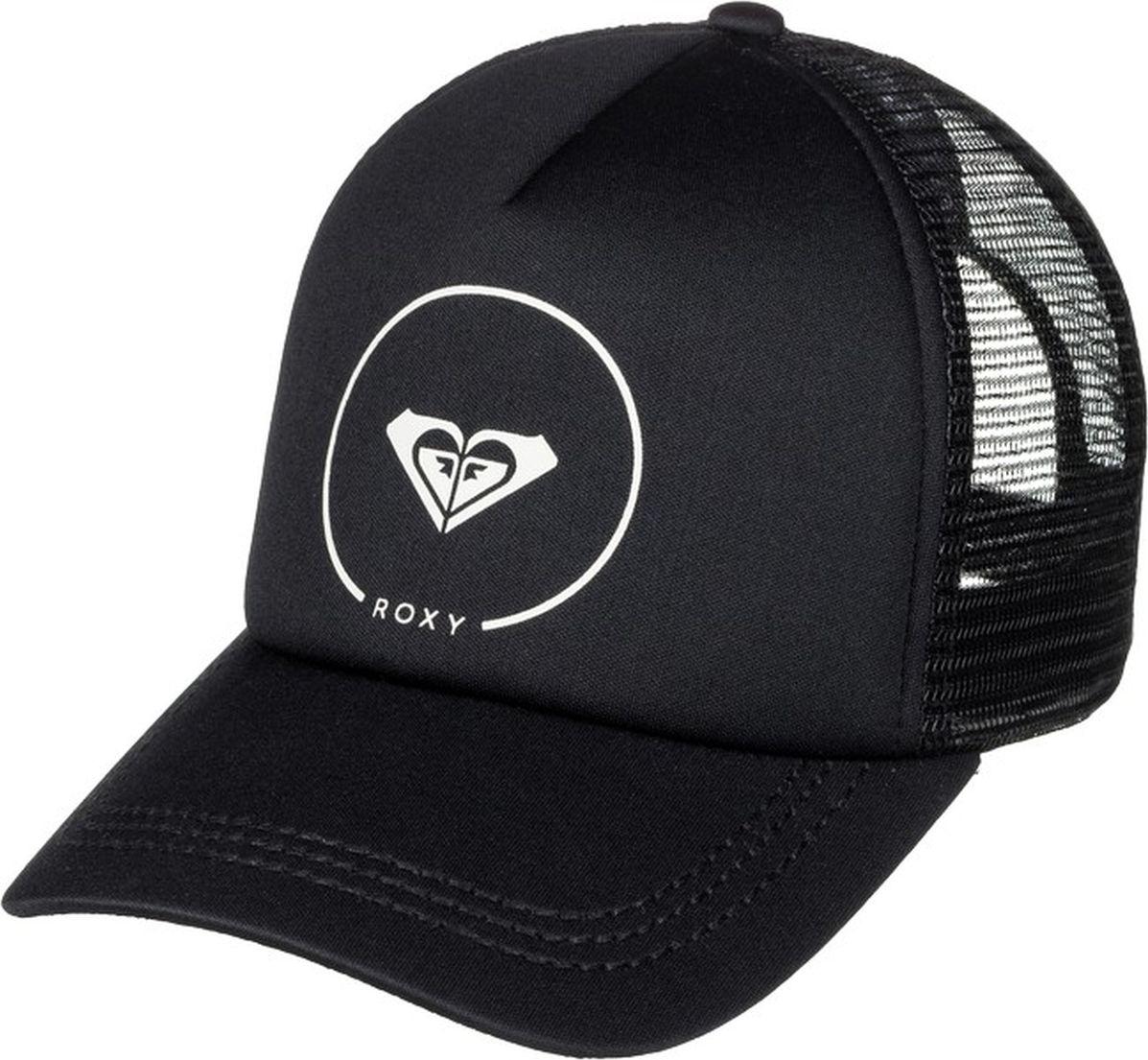 Бейсболка женская Roxy, цвет: черный. ERJHA03315-KVJ0. Размер универсальныйERJHA03315-KVJ0Бейсболка от Roxy с полукруглым козырьком выполнена из полиэстера. Модель с сеткой на затылке. Объем бейсболки регулируется при помощи пластиковой застежки.