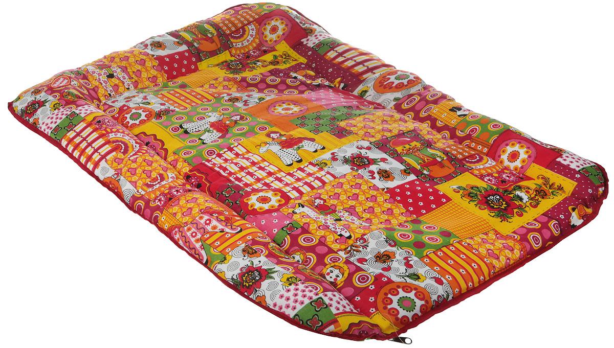 Подстилка для животных Родные места Лоскутки, цвет: зеленый, красный, желтый, 90 x 70 x 4 см сумка для коврика венера 16 см 70 см желтый