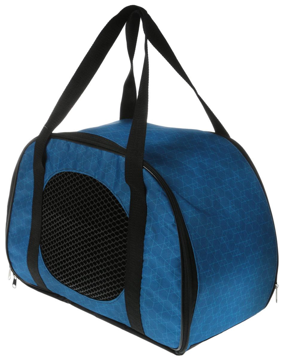 Сумка-переноска для животных Теремок Ромбы, цвет: голубой, 45 х 22 х 30 см сумка переноска для животных теремок цвет голубой синий белый 44 х 19 х 20 см