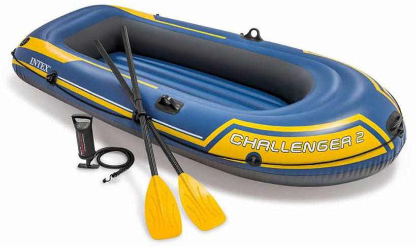 Лодка надувная Intex Challeneger 2, цвет: желтый, синий. 68367NP лодка надувная intex эксплорер 200 58330