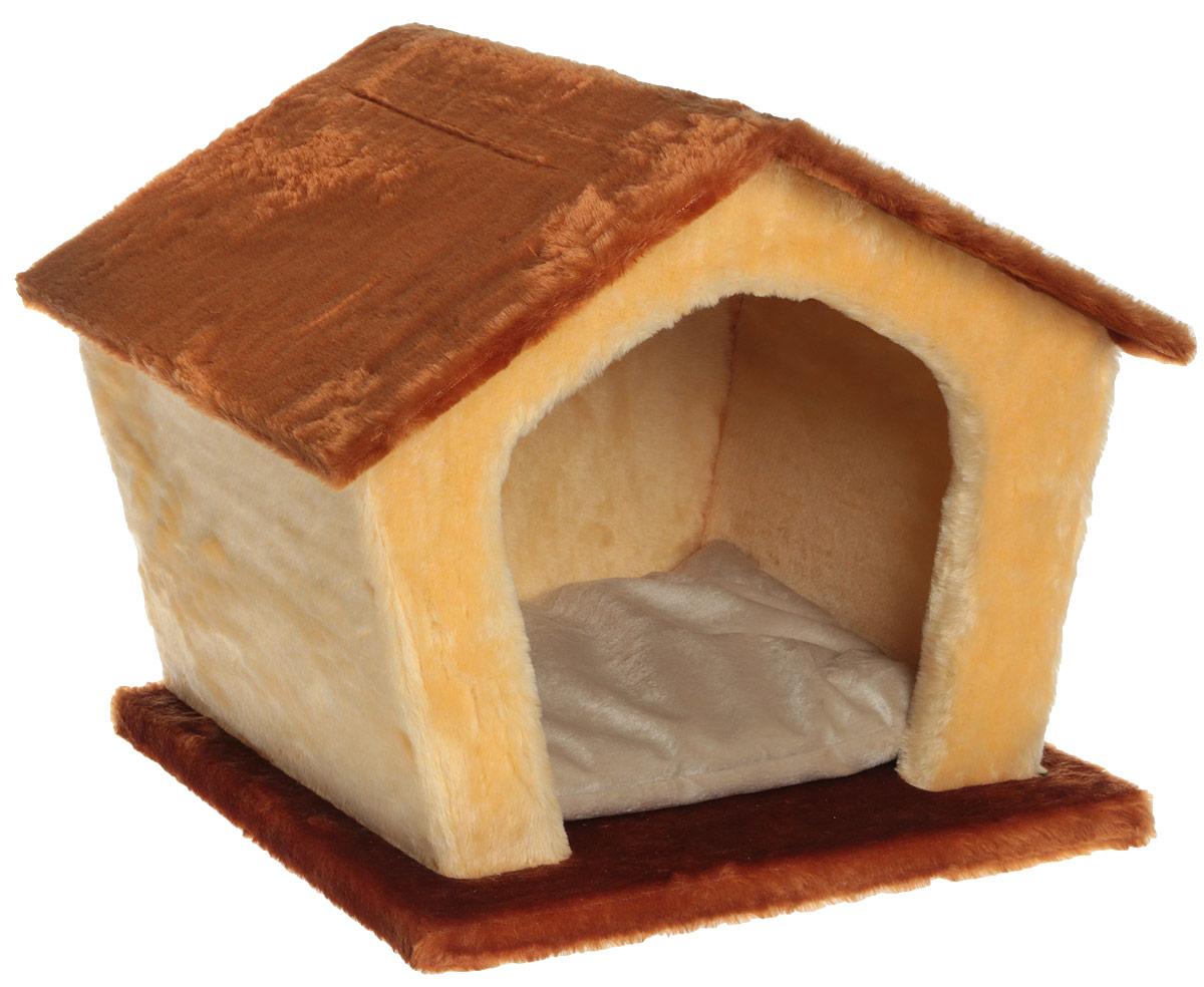 Домик для животных Велес Изба, цвет: коричневый, песочный, 45 х 35 х 40 см