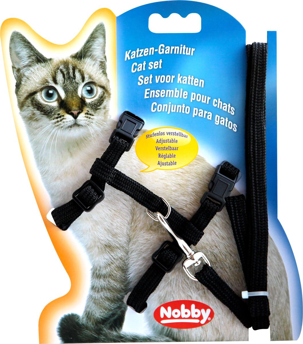 Шлейка Nobby, для кошек, универсальный, цвет: черный, 7221872218-05Комплект из шлейки и поводка из нейлона.