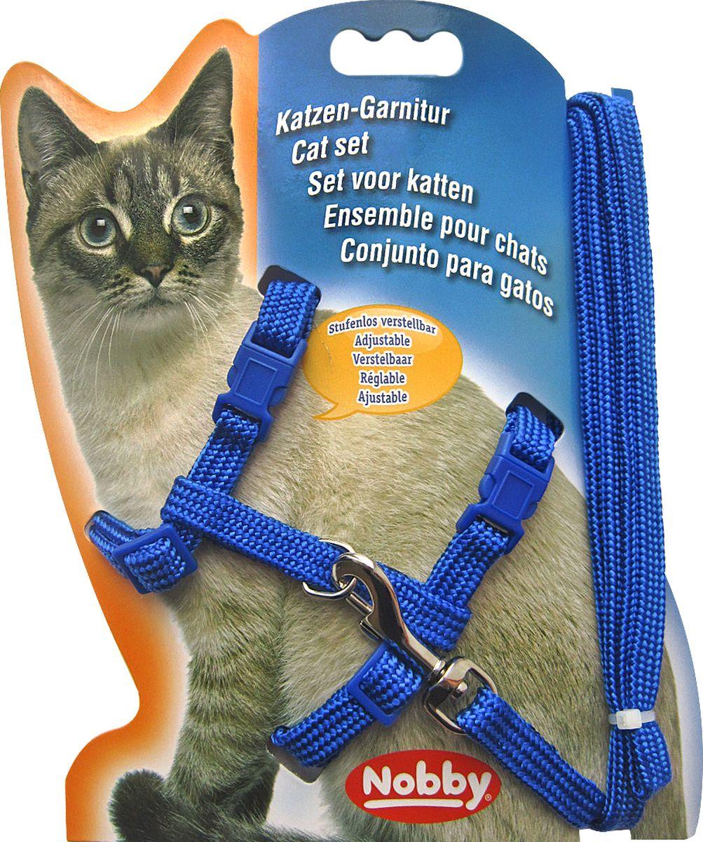 Шлейка Nobby, для кошек, универсальный, цвет: синий чехол универсальный nobby comfort wm 001 для телефонов s кожа черный