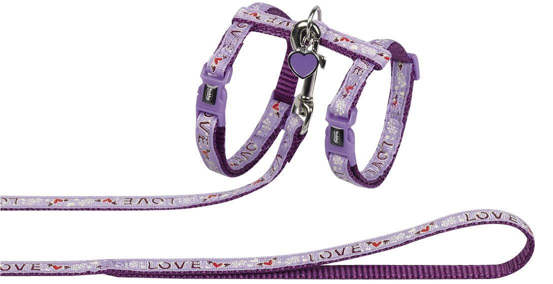Шлейка Nobby Love, для кошек, универсальный, цвет: лиловый77913Комплект из шлейки и поводка из нейлона с декоративной подвеской.