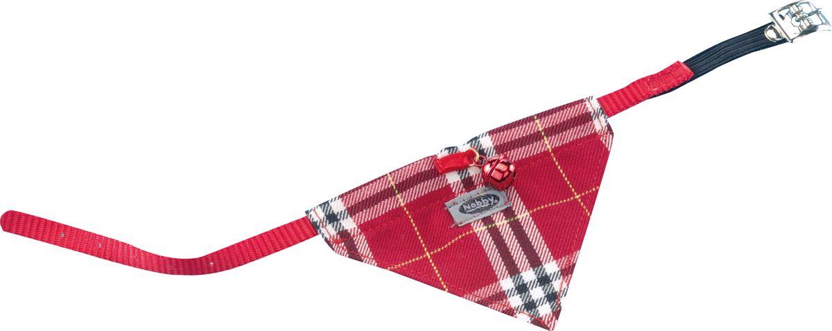 Ошейник Nobby Галстук, для кошек, универсальный, цвет: красный петлайн ошейник с поводком нейлоновый для кошек и собак petline бабочка