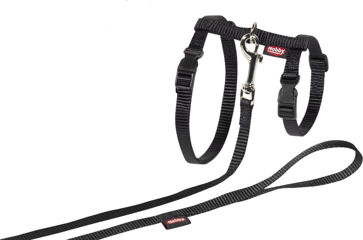 Шлейка Nobby, для кошек, универсальный, цвет: черный78092-05Комплект из шлейки и поводка из нейлона для больших кошек