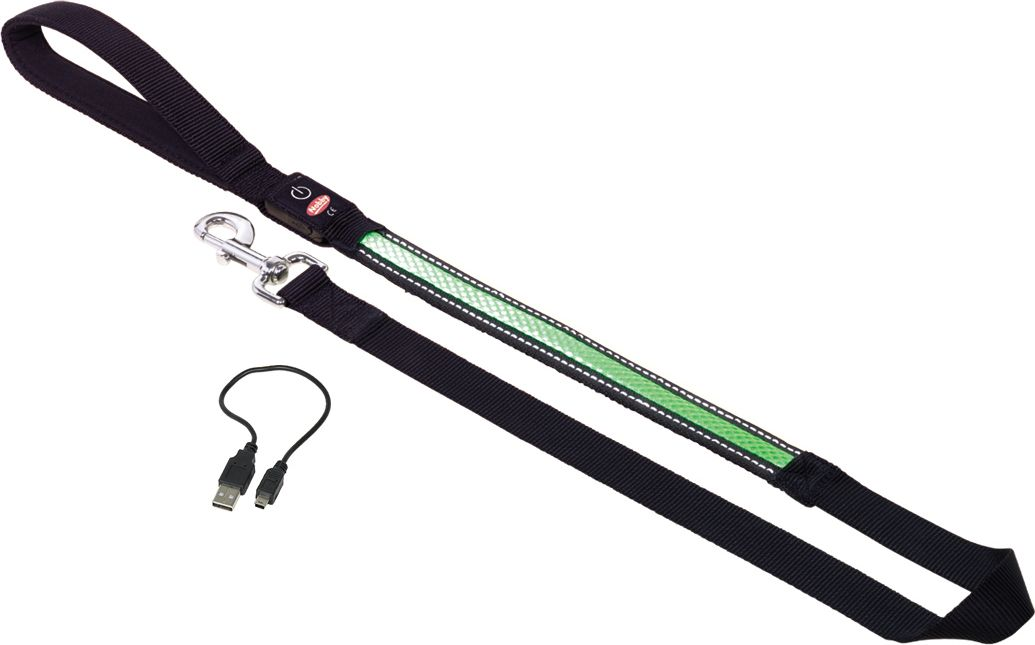Поводок Nobby, для собак, светодиодный, на аккумуляторах, цвет: зеленый, длина 120 см78229-35Поводок для собак «Nooby», изготовленный из нейлона, со светоотражающей отделкой и встроенными светодиодными светильниками и регулируемой частотой мигания. Встроенный аккумулятор, емкостью работы до 2х часов, заряжается от USB.Характеристики:Видимость ошейника - 500м.Ширина: 3,5 см.Длина: 120 см.