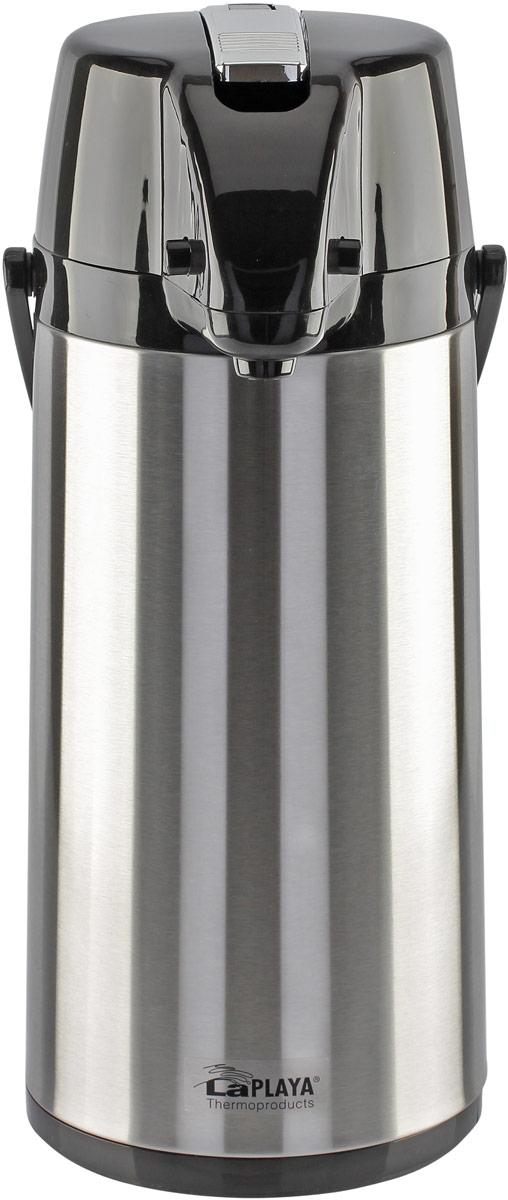 Термос LaPlaya Glass Filler Pump Pot, пневмонасос, со стеклянной колбой и поворотным основанием, 1,9 л560108В серии House Living представлены модели, не предназначенные для транспортировки в силу того, что их конструктивные особенности позволяют использование только в вертикальном положении (на столе).Термосы с пневмонасосом давно и широко используются для домашнего и офисного применения. Они прекрасно дополняют сервировку стола и поддерживают температуру напитка на протяжении всего дня.Модель термоса с пневмонасосом со стеклянной колбой оснащена механизмом вращения, используя который при совершении полного оборота можно наполнять чашки не поднимая сам термос. Это очень удобная функция при объеме 1,9л. Механизм выкачивания оснащен надежным и очень прочным рычагом, обеспечивающим эффективную работу термоса при выливании напитка. Стеклянная колба во всех термосах LaPLAYA не содержит асбестовых компонентов и абсолютна экологична.