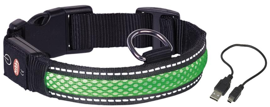 Ошейник  Nobby , для собак, светодиодный, на аккумуляторах, цвет: зеленый, обхват шеи 34-41 см - Товары для прогулки и дрессировки (амуниция)