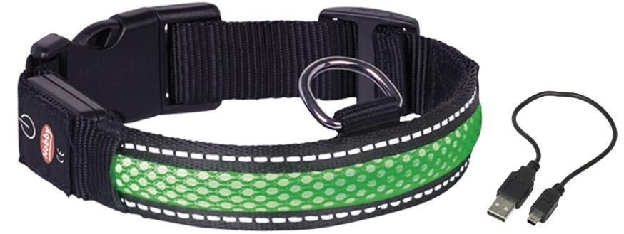 Ошейник  Nobby , для собак, светодиодный, на аккумуляторах, цвет: зеленый, обхват шеи 36-51 см - Товары для прогулки и дрессировки (амуниция)