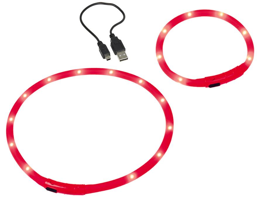 Шнур Nobby, для собак, светодиодный, на аккумуляторах, цвет: красный, длина 40 см78234Со светодиодным шнуром в силиконовом корпусе собака всегда будет в зоне видимости. Частоту мигания можно отрегулировать. Встроенный аккумулятор, емкостью работы до 2х часов, заряжается от USB. Видимость - до 500 м. Диаметр -10 мм. Провод USB входит в комплект.