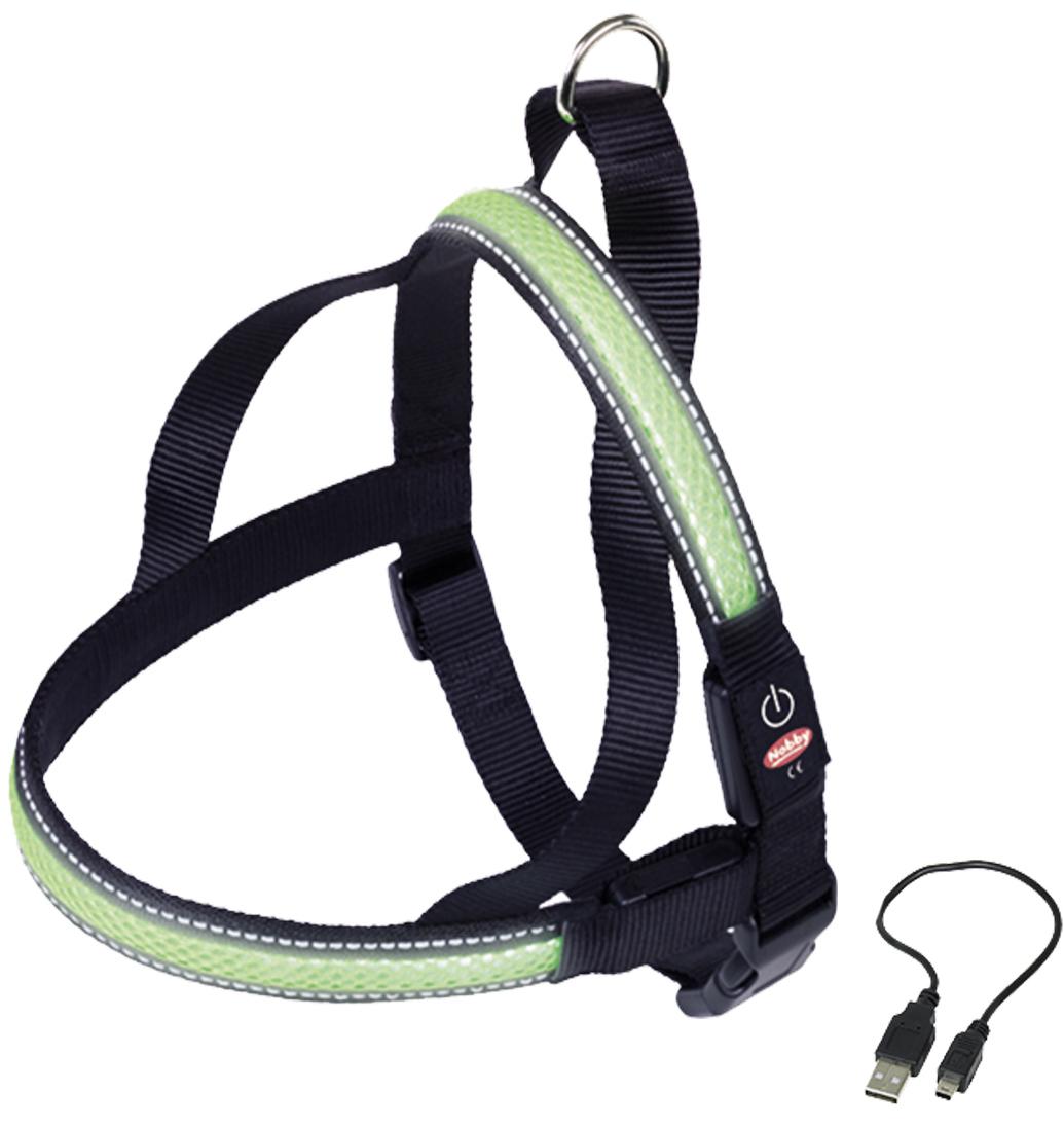 Шлейка Nobby, для собак, светодиодный, на аккумуляторах, цвет: зеленый, обхват шеи 60-75 см спицы addi с удлиненным кончиком круговые цвет серебристый золотистый диаметр 1 75 мм длина 60 см