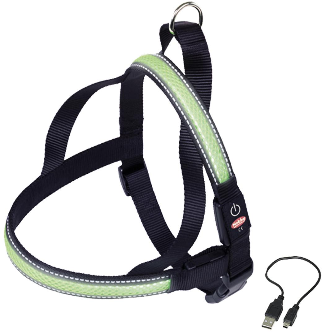Шлейка Nobby, для собак, светодиодный, на аккумуляторах, цвет: зеленый, обхват шеи 70-85 см yeelight ночник светодиодный заряжаемый с датчиком движения