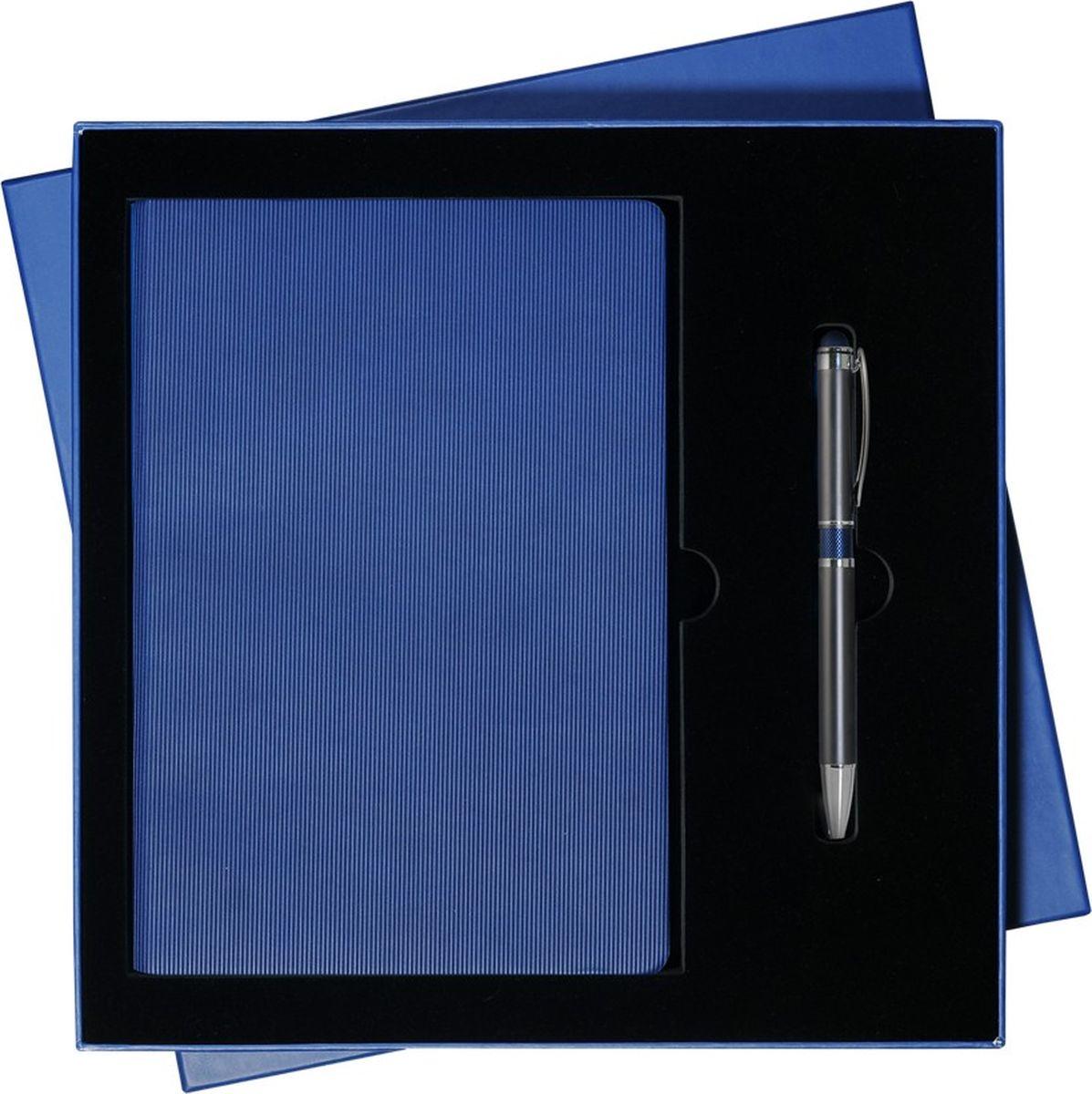 Portobello Trend Подарочный набор Rain GS-132-24GS-132-24-BLUE-RAINВ набор входят: - недатированный ежедневник формата A5 (содержит 256 страниц); - шариковая ручка Aurora с алюминиевым корпусом и нажимным механизмом (отделка: гравировка, синее кольцо).