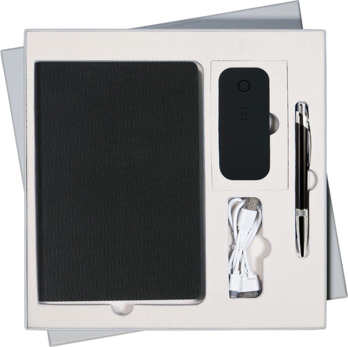 Portobello Trend Подарочный набор Rain GS-301-34GS-301-34-GREY-RAINВ набор входят: - недатированный ежедневник формата A5 со стикерами (содержит 256 страниц); - шариковая ручка Bali с алюминиевым корпусом (отделка - хром); - внешний аккумулятор City PB 4000 mAh (пластиковый корпус).