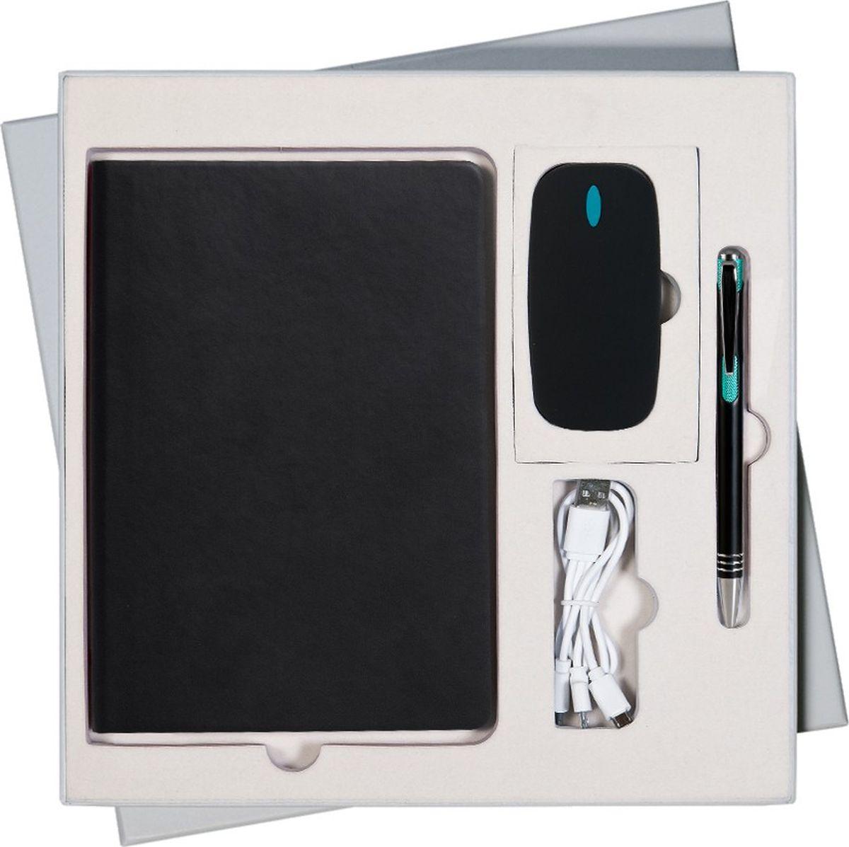 Portobello Trend Подарочный набор Sky GS-306-34GS-306-34-GREY-SKYВ набор входят: - недатированный ежедневник формата A5 со стикерами (содержит 256 страниц); - шариковая ручка Bello с нажимным механизмом; корпус выполнен из алюминия и декорирован хромированной гравировкой; - внешний аккумулятор Cleo PB 4000 mAh выполнен из пластика с покрытием -soft touch.