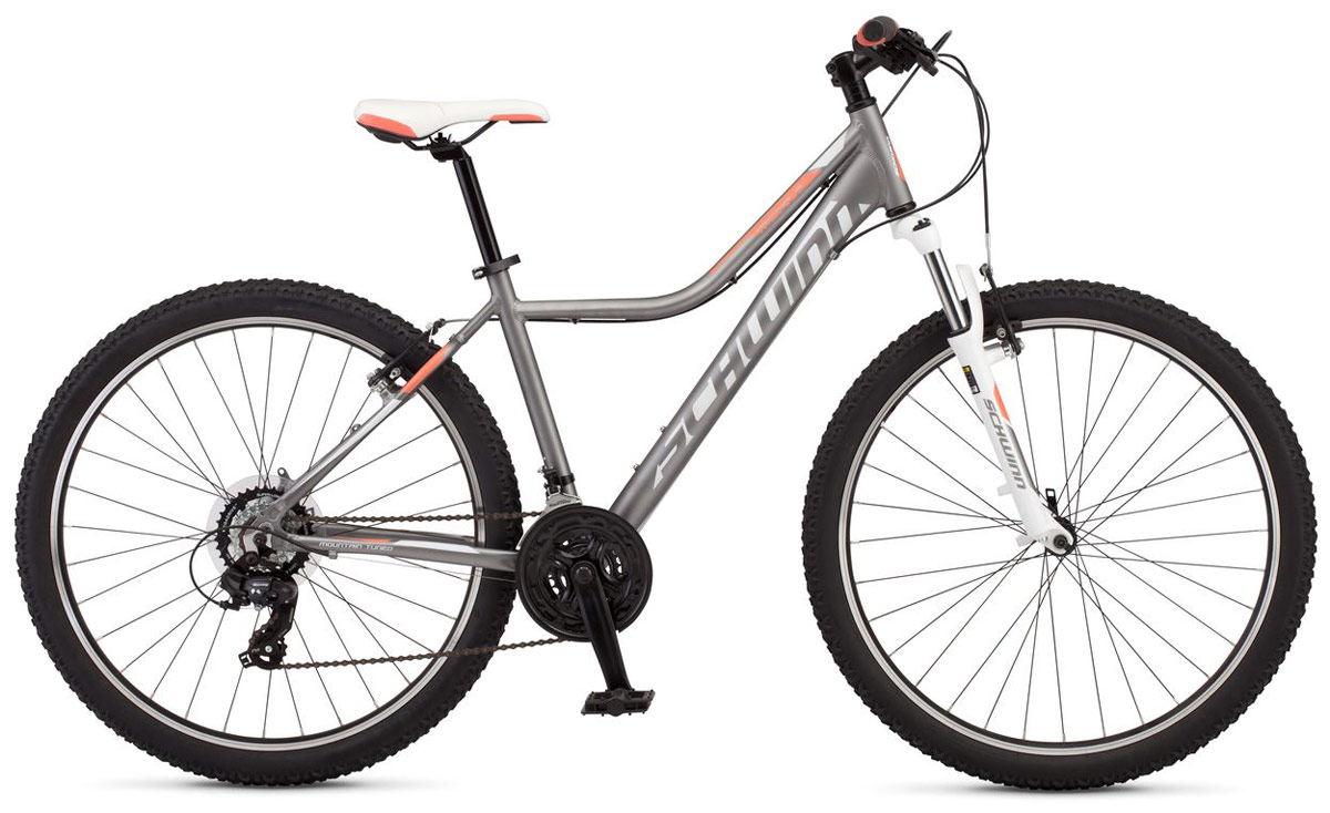 """Mesa 2 Women - стильный дизайн и нежная цветовая палитра этого велосипеда притягивает взгляды и не оставляет равнодушными пешеходов. Mesa 2 Women собран на основе легкой алюминиевой рамы с геометрией, разработанной специально для девушек. Амортизационная вилка Zoom HL565 c ходом 80 мм и регулировкой жесткости отлично гасит вибрации он мелких неровностей лесных тропинок и улучшает сцепление переднего колеса с дорогой. Мягкое прогулочное седло разработано с учетом женской анатомии и позволяет с комфортом кататься продолжительное время. Надежные и не требующие частых настроек переключатели передач Shimano Tourney прослужат не один год и будут радовать четкой сменой скоростей. Колеса диаметром 27,5"""" - это самый современный стандарт, обеспечивающий хороший накат и управляемость велосипеда при движении. • Легкая и прочная рама из алюминия Schwinn Trail Tuned • Амортизационная вилка Zoom HL365 • Ход вилки 80 мм • Регулировка жесткости вилки • Переключатели Shimano Tourney, триггер • 21 скорость • Ободные тормоза • Диаметр колес 27.5 дюймов • Двойные обода • Быстросъемные колеса на эксцентриковых осях"""