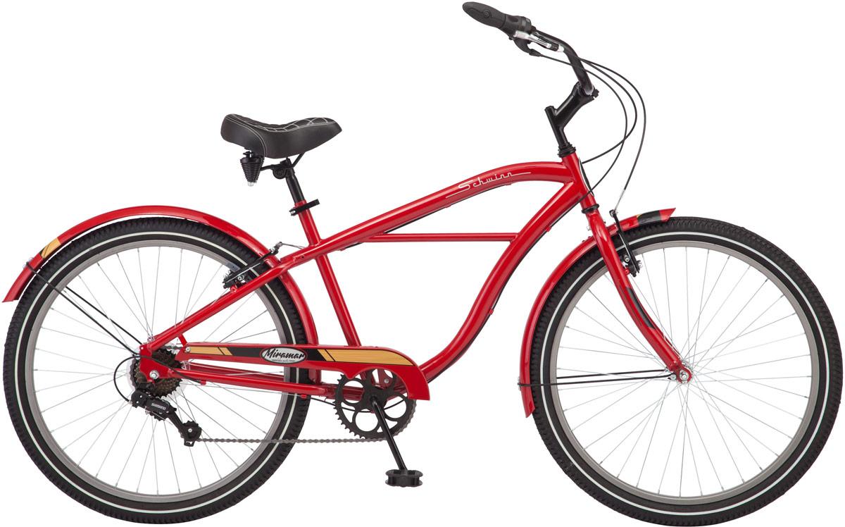 """Велосипед городской Schwinn Miramar, цвет: красный, колесо 2638675137486Miramar - это круизер, который никого не оставит равнодушным! Ярко красный цвет, в сочетании с черными элементами создают неповторимый образ заряженного энергией велосипеда. Широкое комфортное седло и руль регулируются по высоте и наклону для подбора максимально удобной посадки. В конструкцию велосипеда добавлена 7 скоростная трансмиссия от компании Shimano, которая четко и гладко меняет передачи. Полноразмерные крылья и защита передних звезд сохраняют вашу одежду чистой в дождливую погоду. • Рама Schwinn Cruiser • Переключатели Shimano, грипшифт • 7 скоростей • Ободные тормоза • Колеса 26"""" • Полноразмерные крылья • Полноразмерная защита цепи"""