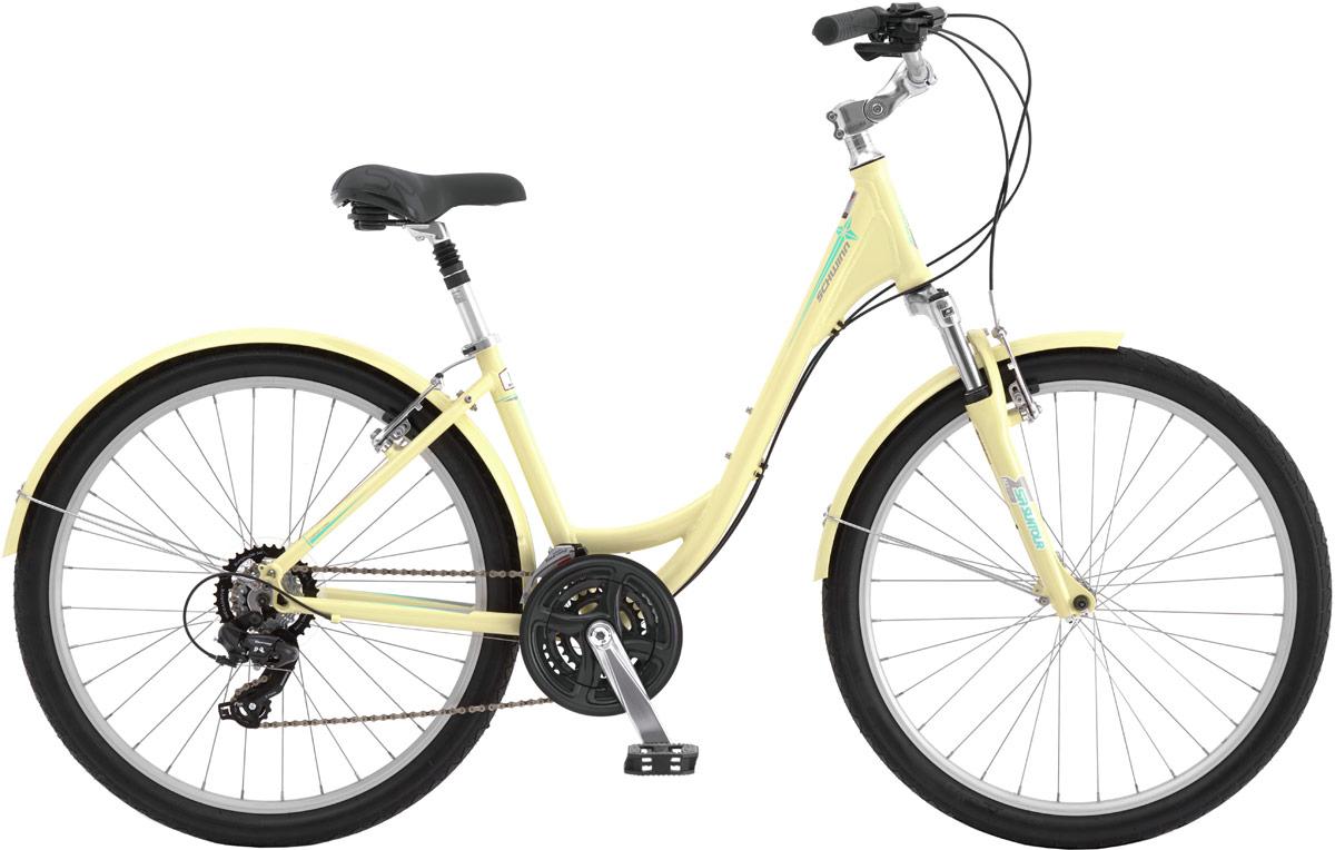 Велосипед городской Schwinn Sierra Women, цвет: желтый, колесо 26, рама M38675063198Schwinn Sierra Woman - это самый популярный женский комфортный велосипед для города и парков. Залогом комфортной езды по асфальту или грунтовой дороге является амортизационная вилка, которая отлично гасит вибрации на руле, комфортное подпружиненное седло и амортизационный подседельный штырь. Педали вынесены далеко вперед относительно седла, это делает посадку еще более расслабленной. Вынос руля регулируется по наклону, так что вы сможете сделать вашу посадку более прямой для комфорта, или более наклонной для лучшей управляемости. 21 скорость четко и плавно переключается компонентами Shimano, а ведущая звезда закрыта защитой, для сохранения вашей одежды в чистоте.Алюминиевая заниженная рама Schwinn Comfort, Амортизационная вилка SR Suntour M3010, Вынос руля регулируется по наклону, Подпружиненное седло, Амортизационный подседельный штырь, Переключатели Shimano Tourney, 21 скорость, Ободные тормоза, Двойные обода Alex Rims