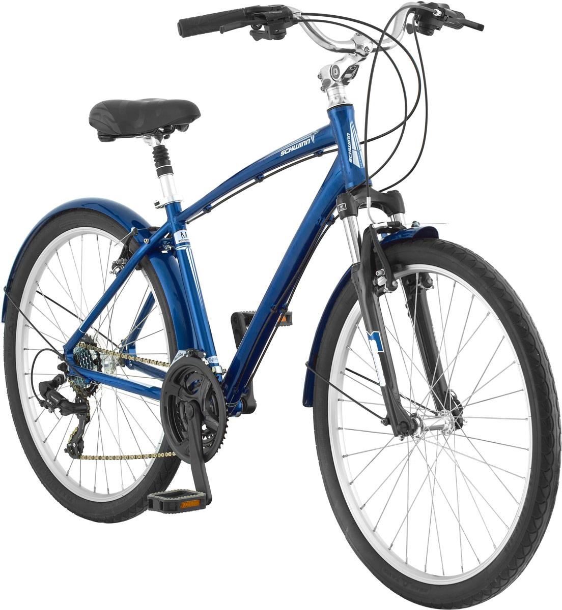 На протяжении долгого времени Schwinn Sierra - это самый популярный мужской комфортный велосипед для города и парков. Залогом комфортной езды является амортизационная вилка, которая отлично гасит вибрации на руле, комфортное подпружиненное седло и амортизационный подседельный штырь. Педали вынесены далеко вперед относительно седла, это делает посадку еще более расслабленной. Вынос руля регулируется по наклону, так что вы сможете сделать вашу посадку более прямой для комфорта, или наклонной для лучшей управляемости. 21 скорость четко и плавно переключается компонентами Shimano, а ведущая звезда закрыта защитой, для сохранения вашей одежды в чистоте.  Алюминиевая рама Schwinn Comfort, Амортизационная вилка SR Suntour M3010, Вынос руля регулируется по наклону, Подпружиненное седло, Амортизационный подседельный штырь, Переключатели Shimano Tourney, 21 скорость, Ободные тормоза, Двойные обода Alex Rims