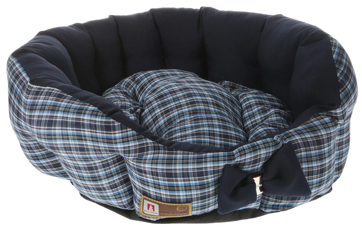 Лежак для собак и кошек Зоогурман Каприз, цвет: синий, черный, диаметр 45 см консервы для собак зоогурман спецмяс с индейкой и курицей 300 г
