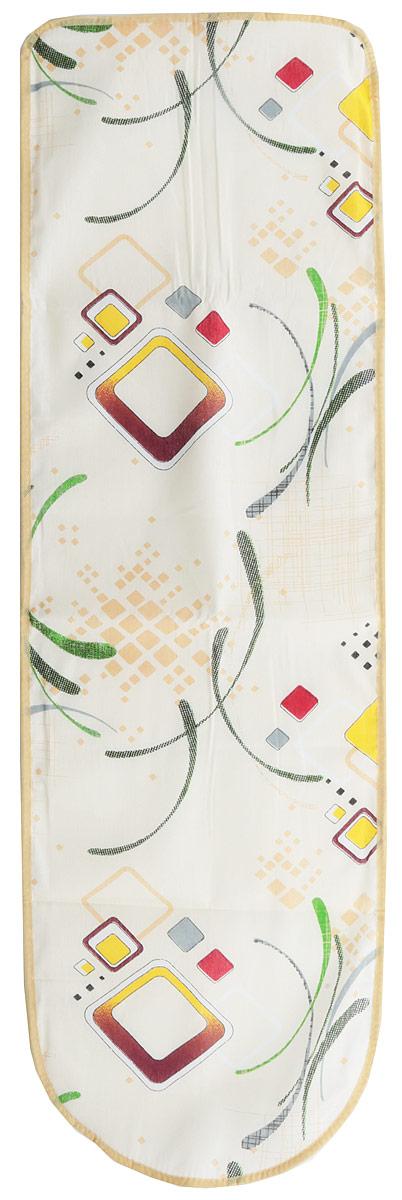 Чехол для гладильной доски Eva Квадраты, с поролоном, цвет: бежевый, бордовый, 120 х 38 см чехол для гладильной доски eva узоры с поролоном цвет желтый белый 120 х 38 см