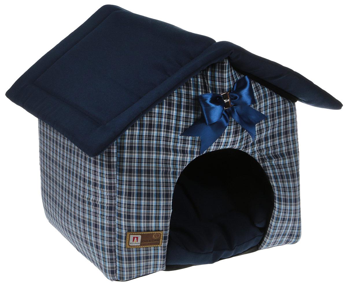 Лежак для собак и кошек Зоогурман Ампир, цвет: синий, черный, 45 х 40 х 45 см консервы для собак зоогурман спецмяс с индейкой и курицей 300 г