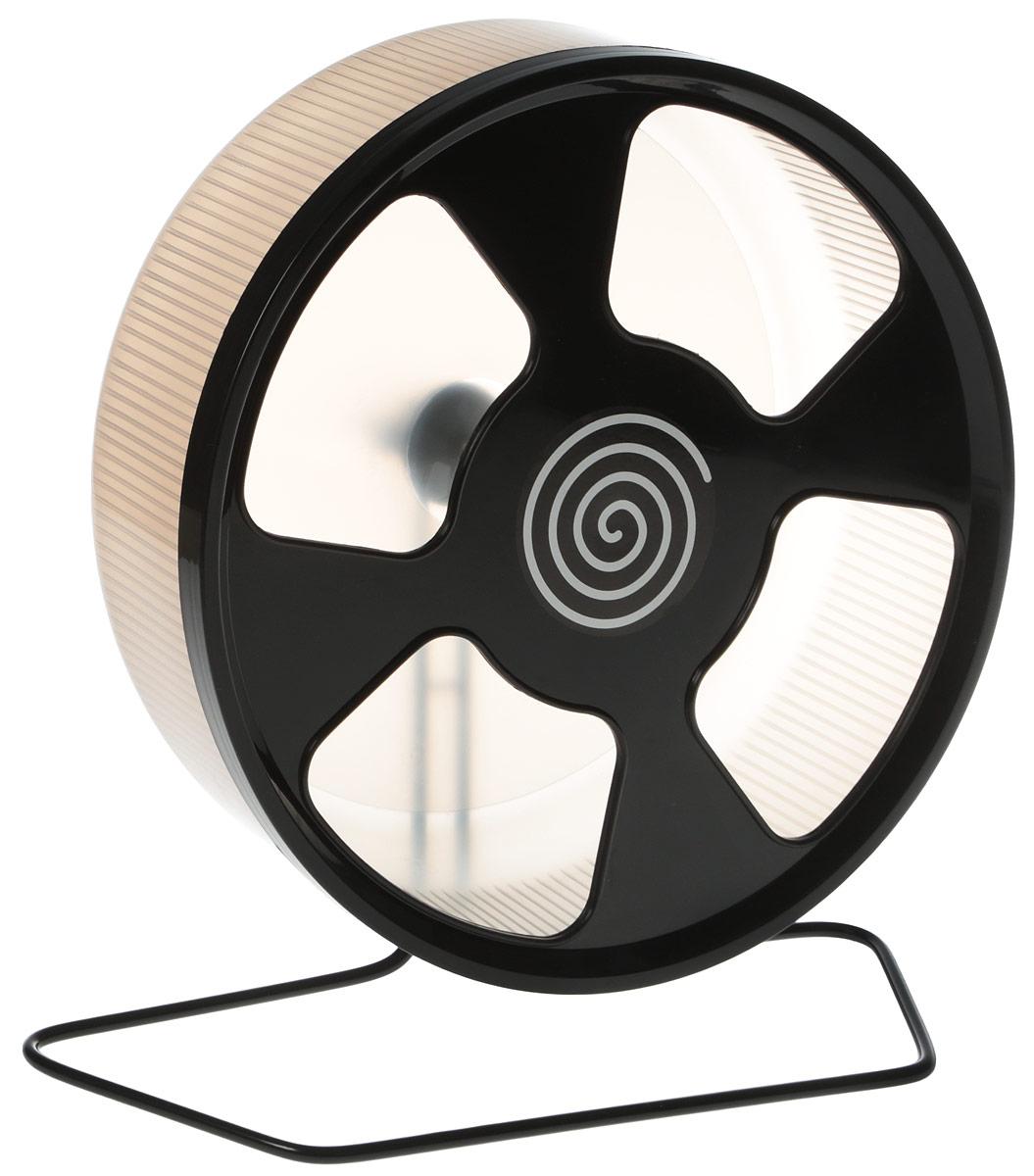 Колесо для грызунов Trixie, на подставке, цвет: серый, черный, диаметр 28 см trixie шлейка trixie для собак размер s m 35 60 см 15 мм синяя