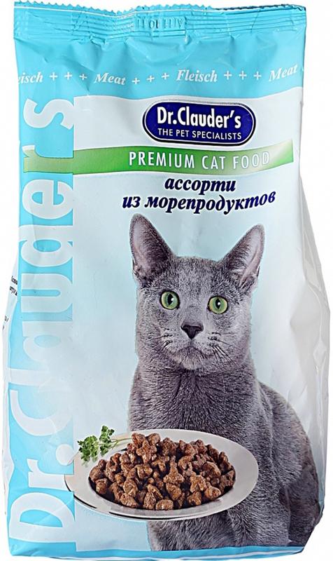 """Корм сухой """"Dr. Clauder's"""" для кошек, ассорти из морепродуктов, 0,4 кг"""