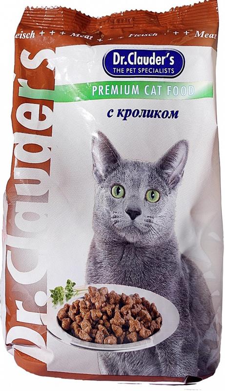 Корм сухой Dr. Clauders для кошек, кролик, 0,4 кг100164/00100165Ингредиенты: мясо и мясные продукты (курица, кролик), злаки, рыба и рыбные продукты, куриный жир, минеральные вещества и витамины. Содержание основных питательных веществ: Протеин 32% Жиры 12,5% Клетчатка 2% Влажность 9,5%