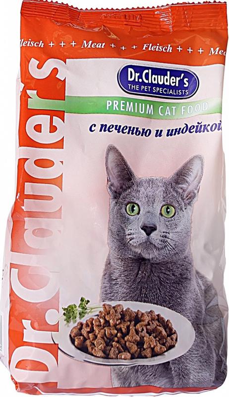 """Корм сухой """"Dr. Clauder's"""" для кошек, печенью и индейкой, 0,4 кг"""