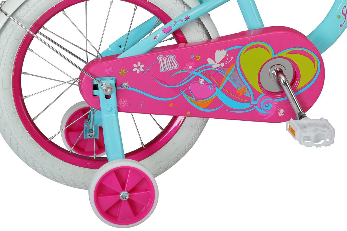 """Iris - это полный ярких красок и впечатлений велосипед для самых маленьких принцесс, на котором хочется кататься каждый день! Разноцветный образ дополняют нарядные белые покрышки, корзинка и мишура на концах руля. Особая геометрия рамы с вынесенной вперед кареткой позволяет легко удерживать баланс при обучении катанию. Седло и руль регулируются по высоте и наклону, а значит, велосипед будет расти вместе с вашей девочкой и прослужит не один год. Для большей практичности Schwinn Iris оснащен полноразмерной защитой цепи, которая предотвращает загрязнение одежды. Schwinn® SmartStart - новая концепция в разработке детских велосипедов, учиться кататься стало проще и веселее! Характеристик:  • Стальная рама Schwinn Smart Start • Регулировка высоты седла без инструментов • Регулировка руля по высоте и наклону • Полноразмерная защита цепи • Дополнительные колеса • Корзинка на руле • Колеса - 16"""" • Велосипед предназначен для детей 4-6 лет."""