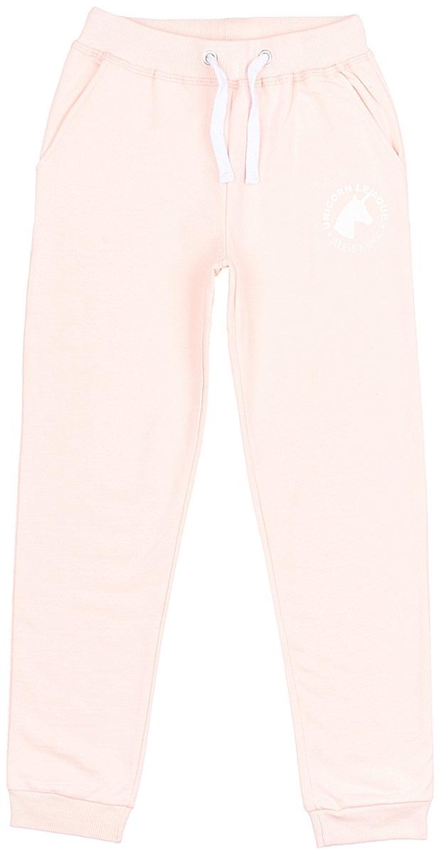 Брюки для девочки Frutto Rosso, цвет: розовый. FRG72151. Размер 146FRG72151Комфортные брюки с начесом выполнены из 100% хлопка. Детали: прорезные карманы, шнуровка на поясе, брючины оформлены манжетом.