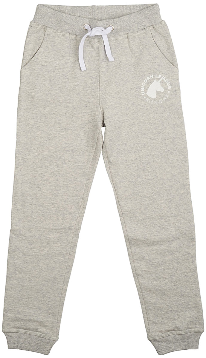 Брюки для девочки Frutto Rosso, цвет: светло-серый меланж. FRG72151. Размер 146FRG72151Комфортные брюки с начесом выполнены из 100% хлопка. Детали: прорезные карманы, шнуровка на поясе, брючины оформлены манжетом.