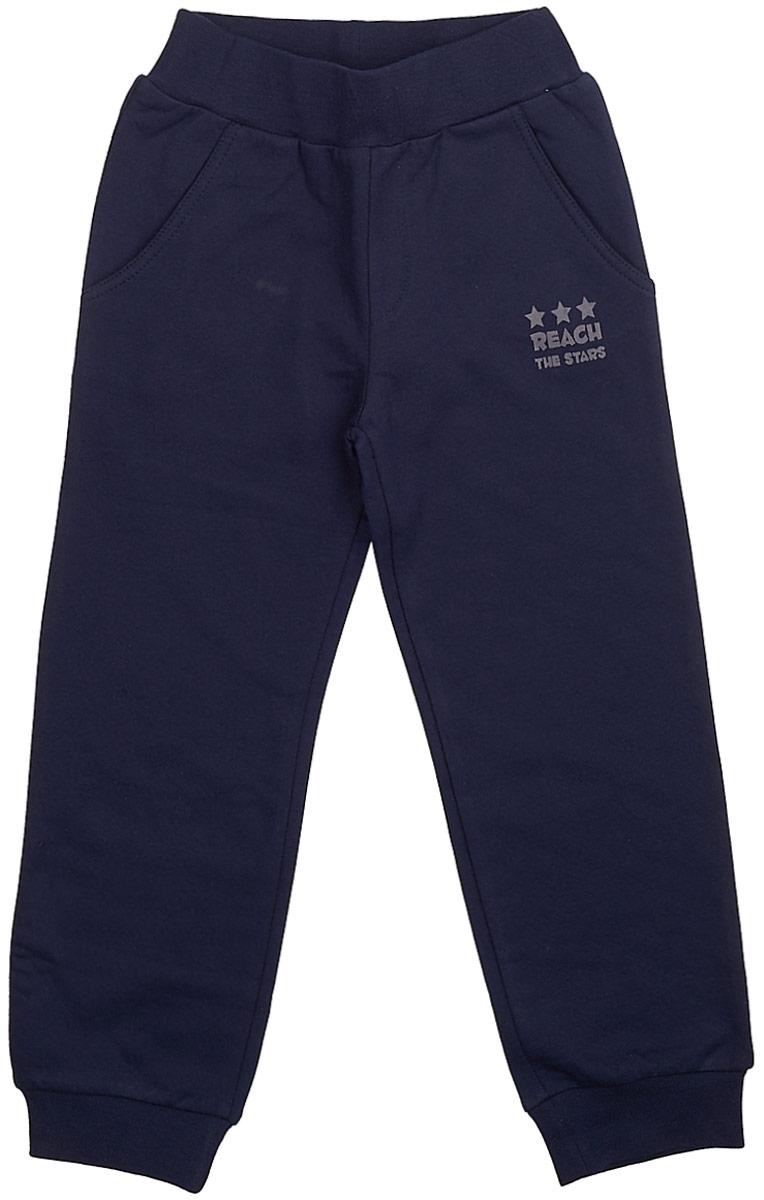 Брюки для мальчика Frutto Rosso, цвет: темно-синий. FRB72111. Размер 98FRB72111Комфортные брюки с начесом выполнены из 100% хлопка. Детали: наличие карманов с отрезным бочком, брючины оформлены манжетом.