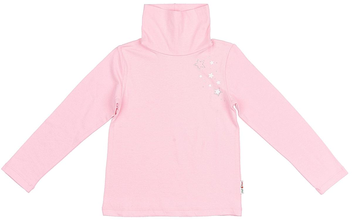 Водолазка для девочки Frutto Rosso, цвет: светло-розовый. FRG72135. Размер 116FRG72135Комфортная водолазка выполнена из 100% хлопка. Детали: высокий двойной ворот, длинный рукав, принт выполнен шелкографным способом, стразы.