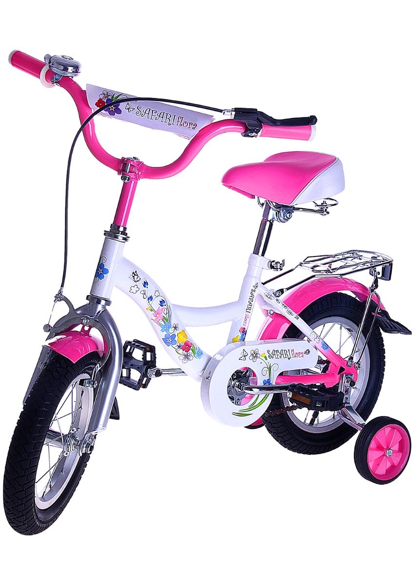 Велосипед детский Safari Flora, двухколесный, цвет: розовый, колесо 121170203Велосипед Safari Flora - востребованная среди маленьких модниц модель. Велосипед, созданный специально для девочек, имеет мягкое широкое анатомическое сиденье на пружинном амортизаторе, регулируемое по высоте, передний ручной и задний ножной тормоза, которые позволяют полностью контролировать езду, дополнительные колесики на упрочненном кронштейне, которые можно снять, а также удобный багажник с пружинным фиксатором. Руль дополнен ограничителем поворота, противоскользящими прорезиненными ручками, мягкой поролоновой накладкой и звонком. Также среди особенностей велосипеда можно отметить брызговики на обоих колесах, защиту цепи, еврошатуны, улучшенную заднюю втулку и светоотражатели на руле и багажнике.