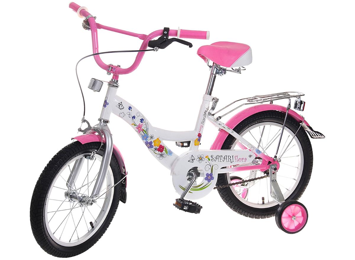 Велосипед детский Safari Flora, двухколесный, цвет: розовый, колесо 161170216Велосипед Safari Flora - востребованная среди маленьких модниц модель. Велосипед, созданный специально для девочек, имеет мягкое широкое анатомическое сиденье на пружинном амортизаторе, регулируемое повысоте, передний ручной и задний ножной тормоза, которые позволяют полностью контролировать езду, дополнительные колесики наупрочненном кронштейне, которые можно снять, а также удобный багажник с пружинным фиксатором. Руль дополнен ограничителем поворота,противоскользящими прорезиненными ручками и звонком. Также среди особенностей велосипеда можно отметить брызговики на обоих колесах,защиту цепи, еврошатуны, улучшенную заднюю втулку и светоотражатели на руле и багажнике.