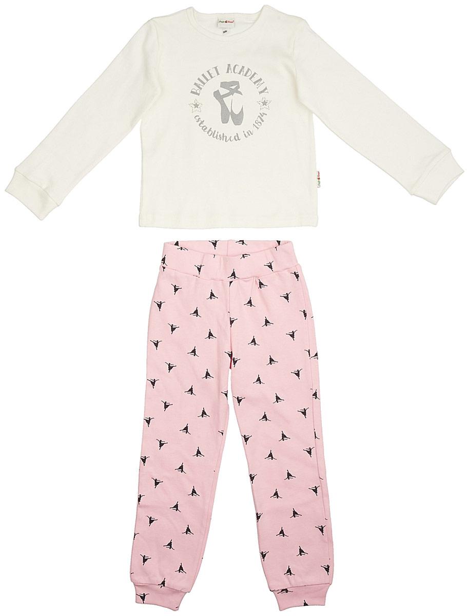 Пижама для девочки Frutto Rosso, цвет: белый. FRG72132. Размер 110FRG72132Комфортная пижама выполнена из 100% хлопка. Детали: округлый вырез горловины, длинный рукав, принт выполнен шелкографным способом, рукава и брючины оформлены манжетами, стразы.