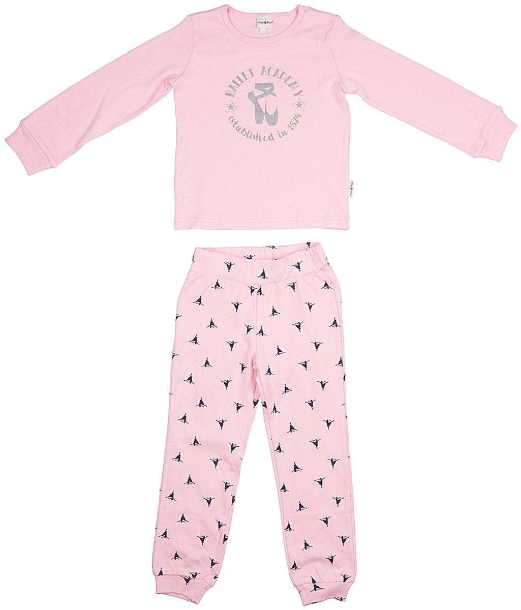 Пижама для девочки Frutto Rosso, цвет: светло-розовый. FRG72132. Размер 110FRG72132Комфортная пижама выполнена из 100% хлопка. Детали: округлый вырез горловины, длинный рукав, принт выполнен шелкографным способом, рукава и брючины оформлены манжетами, стразы.
