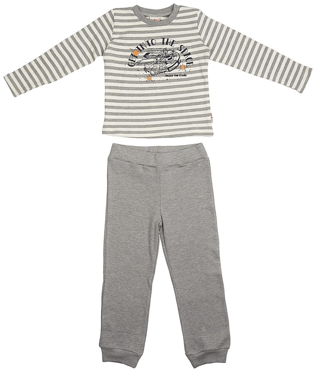 Пижама для мальчика Frutto Rosso, цвет: темно-серый меланж. FRB72112 . Размер 116 пижамы и ночные сорочки lalababy пижама для мальчика длинный рукав кофточка и штанишки little men